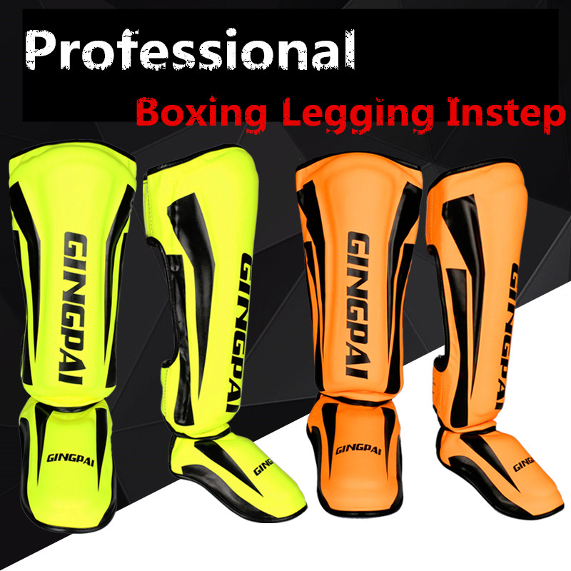 Youth/Adult MMA Boxing Shin Guards Kickboxing Ankle Support Equipment Karate Protectors Foot Shank Sanda Muay Thai Leggings DEO