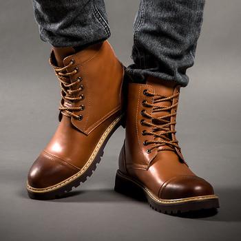 Nowe oryginalne skórzane męskie buty wojskowe buty męskie zimowe buty motocyklowe ciepłe zimowe buty z futerkiem męskie czarne męskie rozmiar 46 tanie i dobre opinie ENLEN BENNA CN (pochodzenie) Prawdziwej skóry Skóra bydlęca Połowy łydki Stałe Krótki pluszowe Okrągły nosek RUBBER