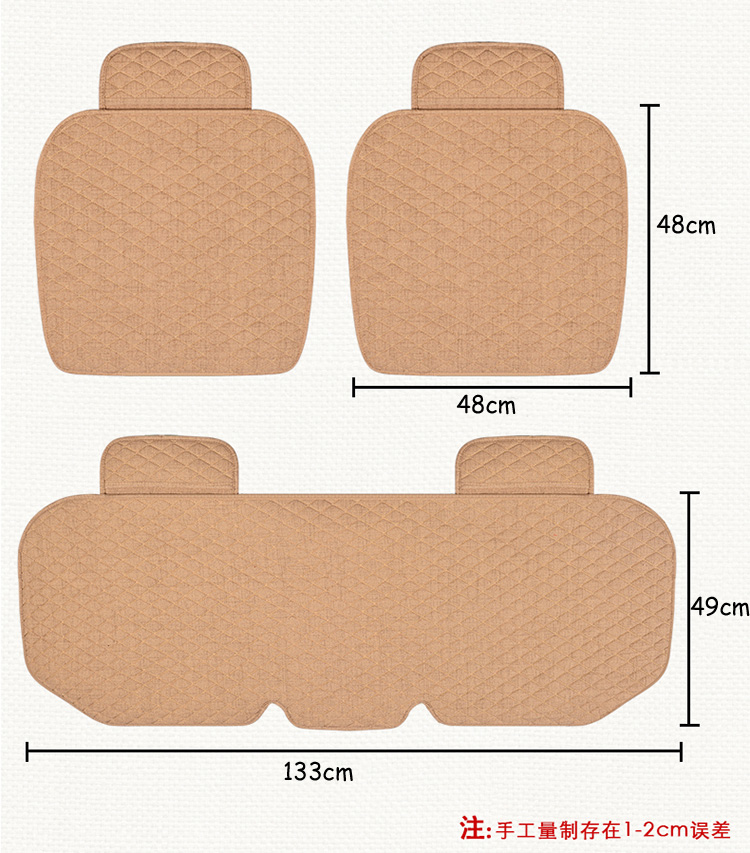 Flax Car Seat Covers Front Rear/ Full Set Linen Fabric Seat Pad Cover 6