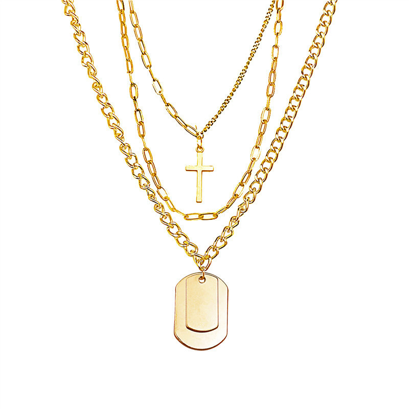 Купить с кэшбэком Frosty Style Personality Hip-hop Fashion Jewelry Clavicle Chain Women Couple Multi-layer Trendy Cross Necklace Long Chain Board