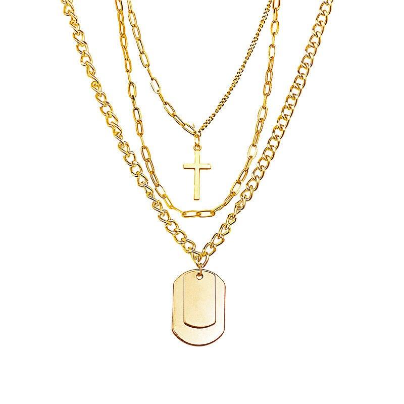 Купить с кэшбэком Frosty Style Personality Hip-hop Fashion Jewelry Clavicle Chain Women Couple Multi-layer Trendy Cross Necklace Long Chain Board