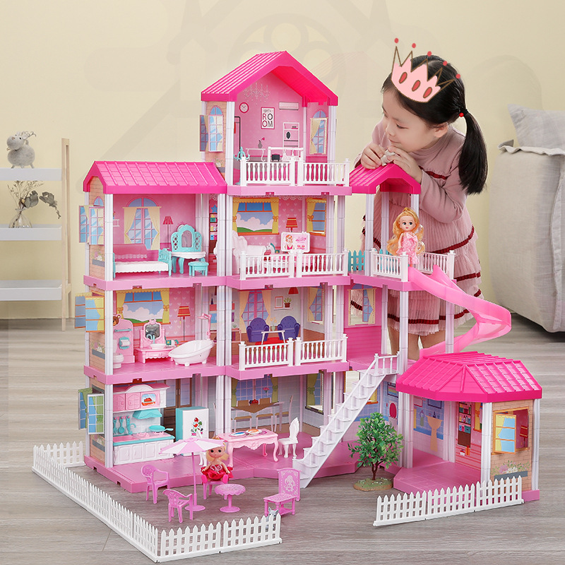 Girls Pretend Toy Handmade Doll House Castle DIY House Toy Miniature Dollhouse Birthday Gifts Educational Toys Doll Villa Girl