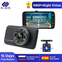 "E-ACE Auto Dvr Kamera 4.0 ""Full HD 1080P Dash Cam Auto Registrator Dual Objektiv Nachtsicht Mit Hinten ansicht Kamera Video Recorder"