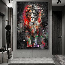 Colorful Lion Graffiti Canvas Painting Abstract Animal Wall Art Posters and Prints Cuadros Decorative Pictures for Home Design