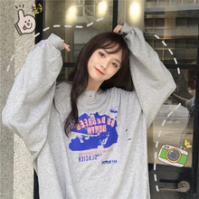 Pullover Womens Sweatshirt Korean Pop Clothes Streetwear Women Hole Casual Letter Printing Crop Top