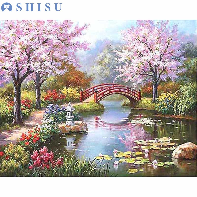 New Kid DIY Sakura Street Drawing Landscape Oil Acrylic Painting By Number on Canvas Framed Wall Picture Art for Home Decor