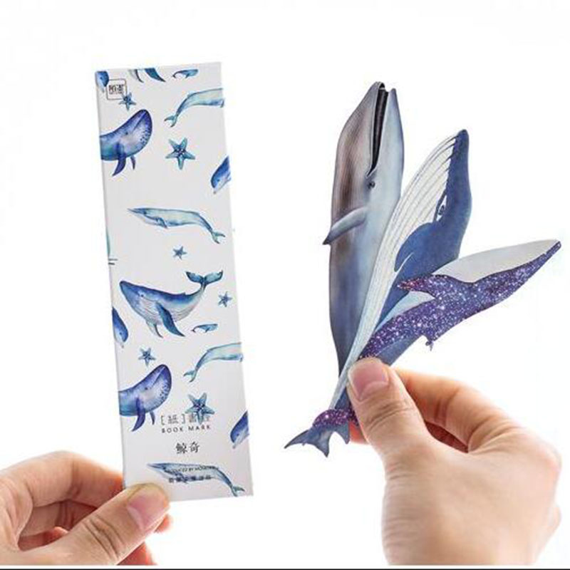 30pcs/Box Whale Paper Bookmark Boxed Bookmark Holder Holder Message Card Children Student Stationery Gift School Office Supplies