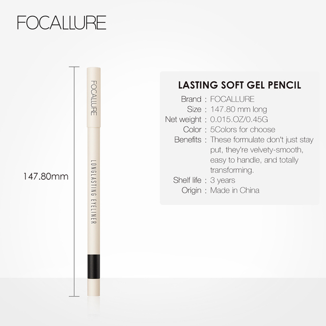 FOCALLURE Long-lasting Gel Eyeliner Pencil Waterproof Easy To Wear Black Liner Pen Eye Makeup 5