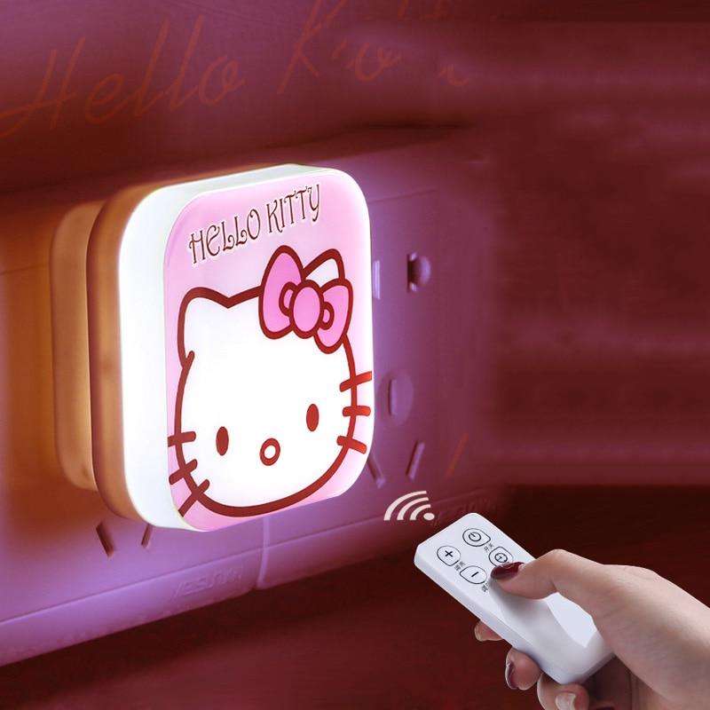 KT Cat Doraemon Remote Control Led Night Light Energy Saving Timing Brightness Adjustable Cartoon Kids Bedroom Decor Lights Lamp