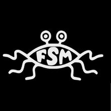 Pegatinas de vinilo FSM Flying Spaghetti Monster para coche, calcomanía divertida negra/plateada