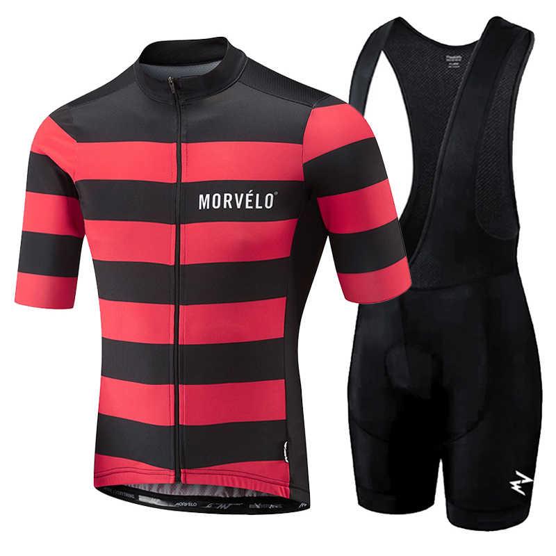 Morvelo 2019 Pria Musim Panas Pakaian Bersepeda Pakaian Kit Lengan Pendek Bib Celana Pendek Pria Bernapas Bib Celana Pendek Maillot Ciclismo Set