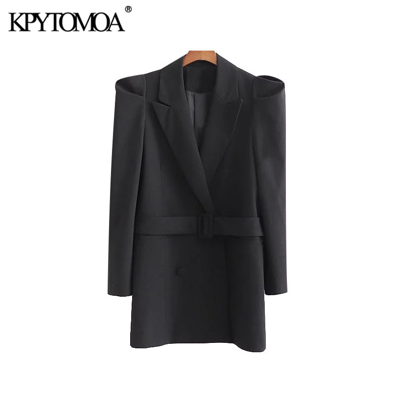 Vintage Stylish Office Wear Double Breasted Blazer Coat Women 2020 Fashion Long Puff Sleeve With Belt Female Outerwear Chic Tops