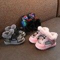 Детская обувь с хлопчатобумажными стельками 2019 г. Зимняя новая стильная От 1 до 3 лет с ворсом и толстой подкладкой для маленьких девочек и ма...