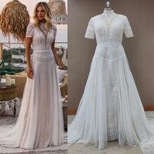 Fotos reais boêmio mangas curtas 2021 vestido de casamento oco para fora do laço boho praia vestidos de noiva maxi tamanhos grandes feitos sob encomenda 10147