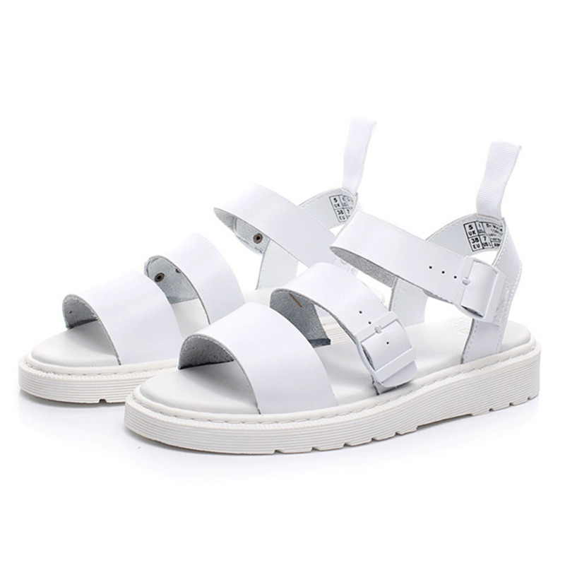 2021 New White Women Sandals Genuine Leather Casual Flat Shoes Woman Summer  Beach Shoes Platform Sandal Flats Ladies Shoes Women's Sandals  - AliExpress