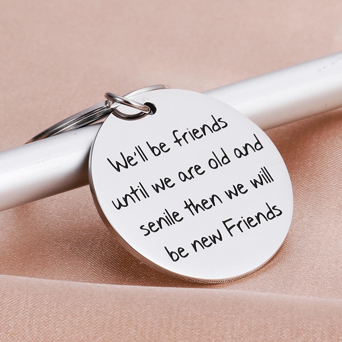Friendship Gift Keychains for Women Best Friend Keychain Birthday Sister Besties BFF Stainless Steel Birthday Gifts Keyring