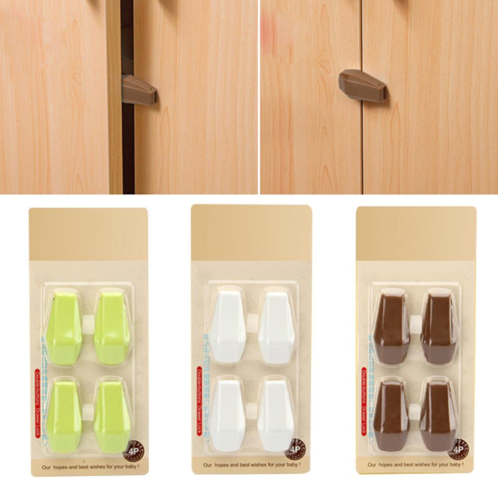 4 Pcs Baby Kids Box Drawer Cupboard Cabinet Wardrobe Door Fridge Safety Locks Tool Baby Hand Protection Device