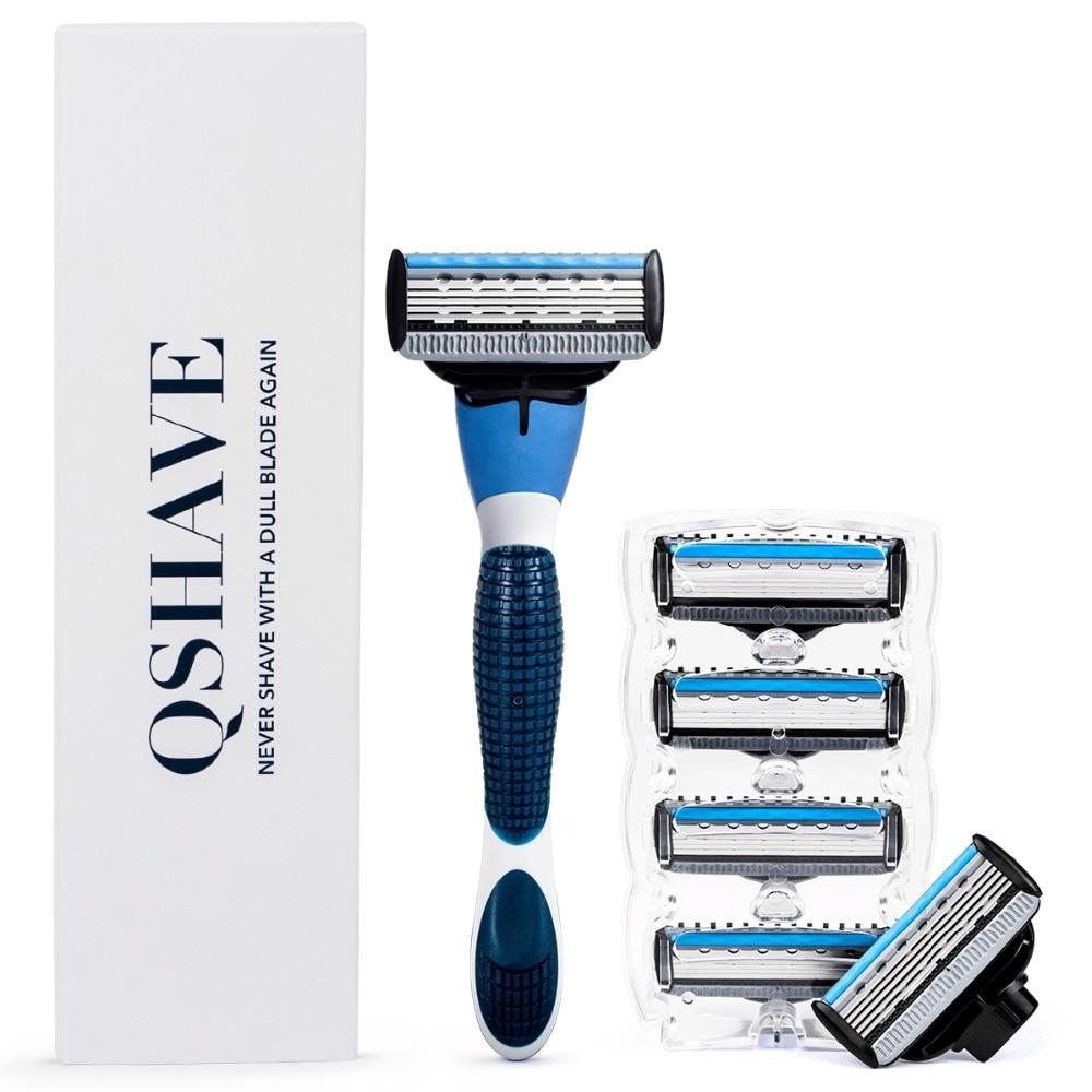QShave Galaxy Blue Men Manual Shaving Razor with Trimmer Blade Gift, 6 PCS & 1 Handle(1pc X3 Blade, 5pcs X5 1pc Handle)