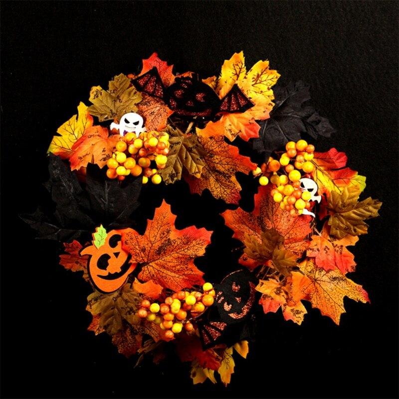 Artificiale Halloween Corona Anteriore Porta Hanging Ghirlanda di Festa Decorazioni per La Casa (con Alimentato a Batteria Stringa di Luce a Led) - 4