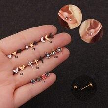 Mini simples estrela lua coração cruz flor orelha piercing cartilagem helix tragus parafuso prisioneiro brinco piercing jóias