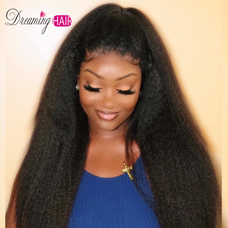 Invisible 13X6 Deep 180%  Preplucked And Bleached Knots Lace Front Human Hair Closure Wigs Indian Remy Hair Kinky Straight Women