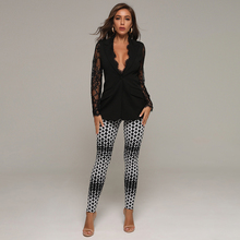Casual-Sets Runway Full-Pants Fashion Women Club Adyce Party Sexy 2 V-Neck Lace Top Long-Sleeve