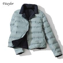 Fitaylor inverno feminino dupla face para baixo jaqueta gola de pato branco para baixo casaco duplo breasted quente curto neve outwear