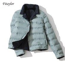 Fitaylor חורף נשים כפול צדדי למטה מעיל צווארון עומד לבן ברווז למטה מעיל טור כפתורים כפול חם קצר שלג להאריך ימים יותר