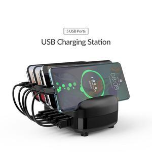 Image 2 - ORICO 5 портов USB Зарядное устройство Док станция с держателем для телефона или планшета 40 Вт 5V2.4A * 5 USB зарядка для iphone pad PC Kindle Tablet