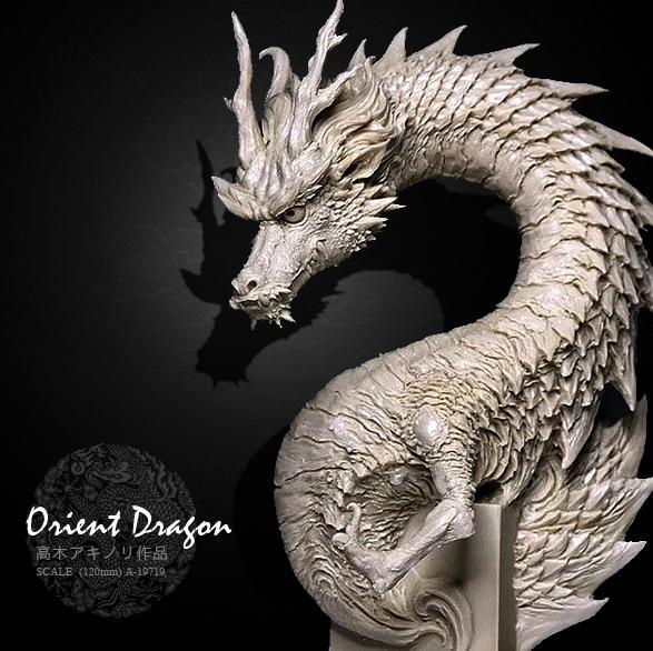 Resin Model National Day Dragon Half Body Resin Model  (12CM) Colorless  A-19719