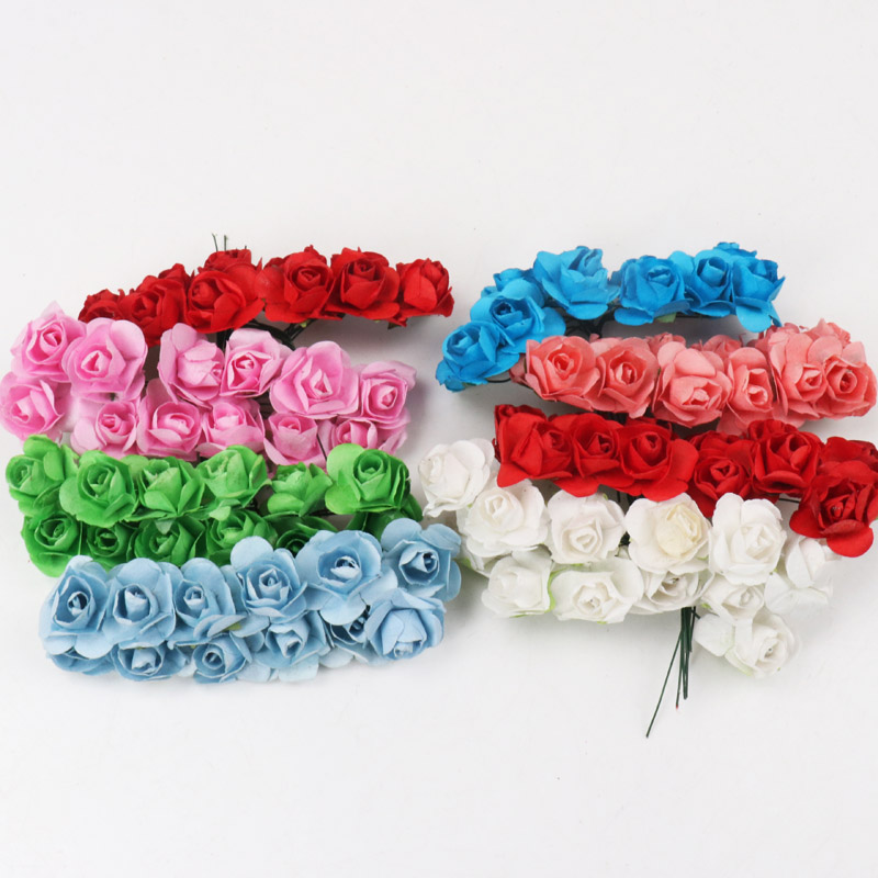 12Pcs Fake Mini Foam Roses Artificial Wedding Flowers Diy Flower Decoration New Year Valentines day Gift Rosas Artificiales Rose