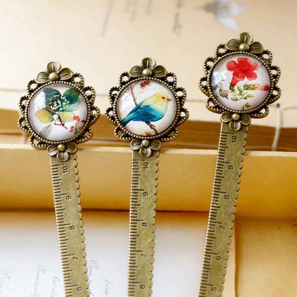 10cm Ruler Retro Metal Bookmark Straight Wave Line Flower Leaf Bird Reading Stationery Gift