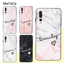 MaiYaCa Personalised Custom Name Marble Case For Huawei P20 P30 Pro P10 Lite Honor 10 9 8X Mate 20 10 Lite Nova 3E 3I Y9 2019 rose leather flip case honor 8x y9 2019 mate 20 pro 20 lite 9 lite nova 3i p20 pro smart for huawei nova 3e p20 lite phone case
