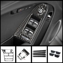 Estilo do carro de fibra carbono console quadro navegação painel cd guarnição para audi a4 b8 interior mudança engrenagem decoração capa adesivos