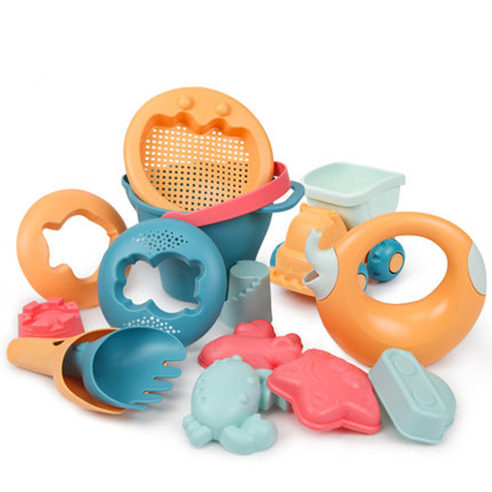 Colorful Cartoon Gift Cute Water Play Beach Toys Set Smooth Edge Truck Outdoor Games Summer Kids Baby Sandbox Seaside Non-toxic