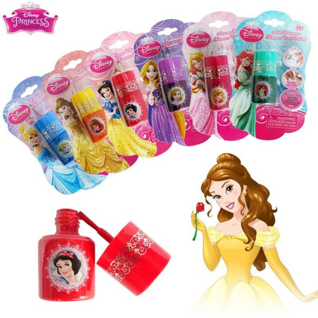 Disney Water-soluble Nail Polish Tearable Pretend Play Toys Children Girls Makeup Toy Gift 1