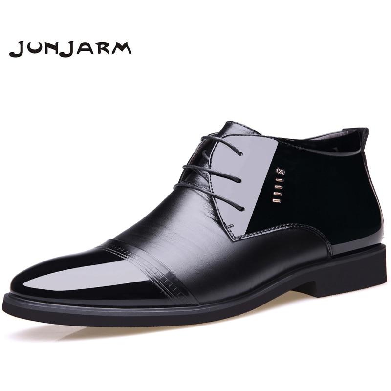 JUNJARM New Designer Men Boots Microfiber Winter Shoes Wool Inside Warm Snow Black Man Leather Ankle