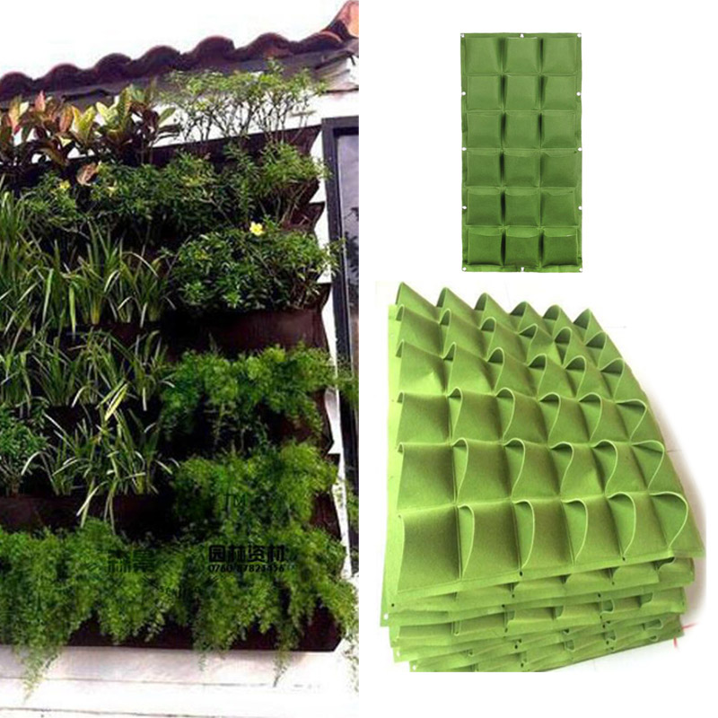 9 36 72 Pockets Wall Vertical Garden Seedling Grow Bags Planting Vegetable Tools Jardin Flower Plants Hanging Home Seedsplants