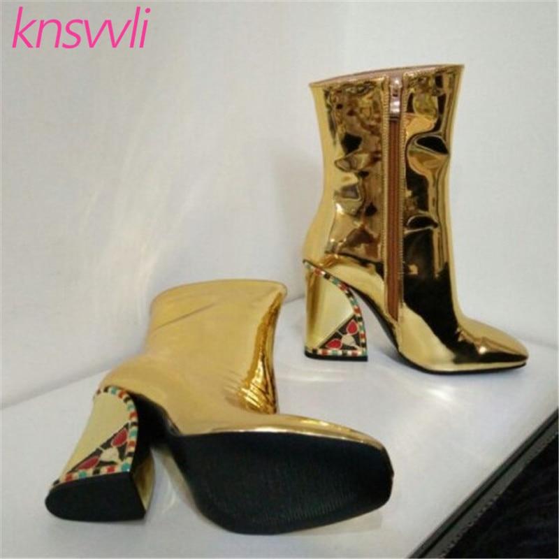 Knsvvli nouvelles bottes de piste strass Chunky talons hauts bottines femmes or miroir Surface chaussures d'hiver femme Chelsea bottes - 5