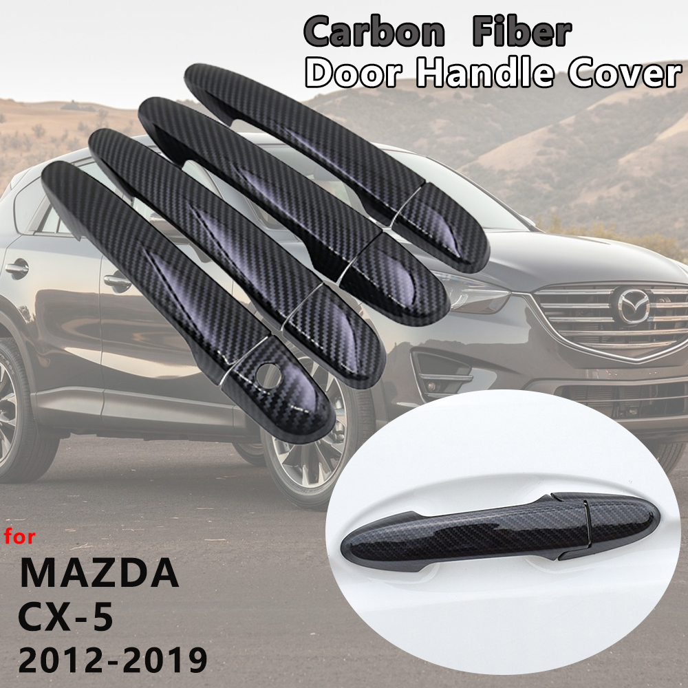 for <font><b>Mazda</b></font> <font><b>CX</b></font>-<font><b>5</b></font> CX5 <font><b>CX</b></font> <font><b>5</b></font> KE KF 2012-2019 4 PCS Exterior Carbon Fiber Door Handle Cover Catch Trim Car Accessories 2013 <font><b>2016</b></font> 2017 image