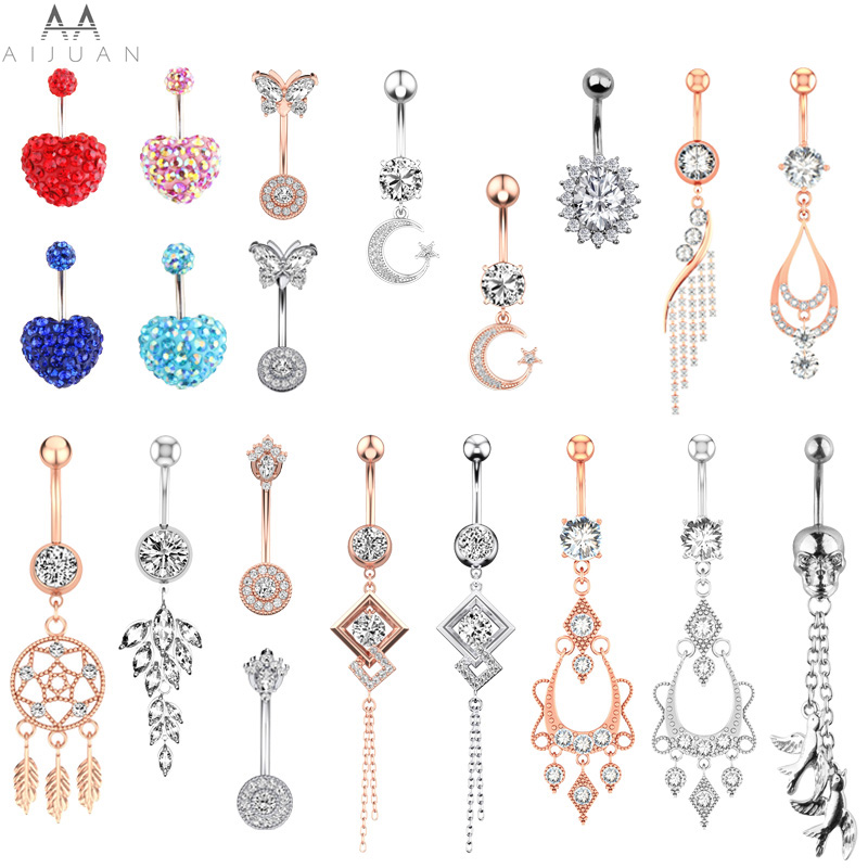 Umbigo piercing feminino gota de coração balançar lua estrela botão da barriga anéis 316l cirúrgico aço inoxidável cz cristal zircão jóias do corpo