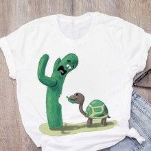 Moda feminina cactus engraçado imprimir moda manga curta verão senhora topos camiseta das mulheres roupas t camisa feminina