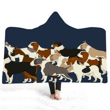 Cute Dogs Microfiber Hooded Throw Blanket Throw Wrap Cloak Cape for Couch Sofa Chair Sherpa Fleece Warm Blanket for Travel Bed magic hooded blanket for home travel picnic 3d printed wearable blanket for sofa portable warm throw blanket for adults childs
