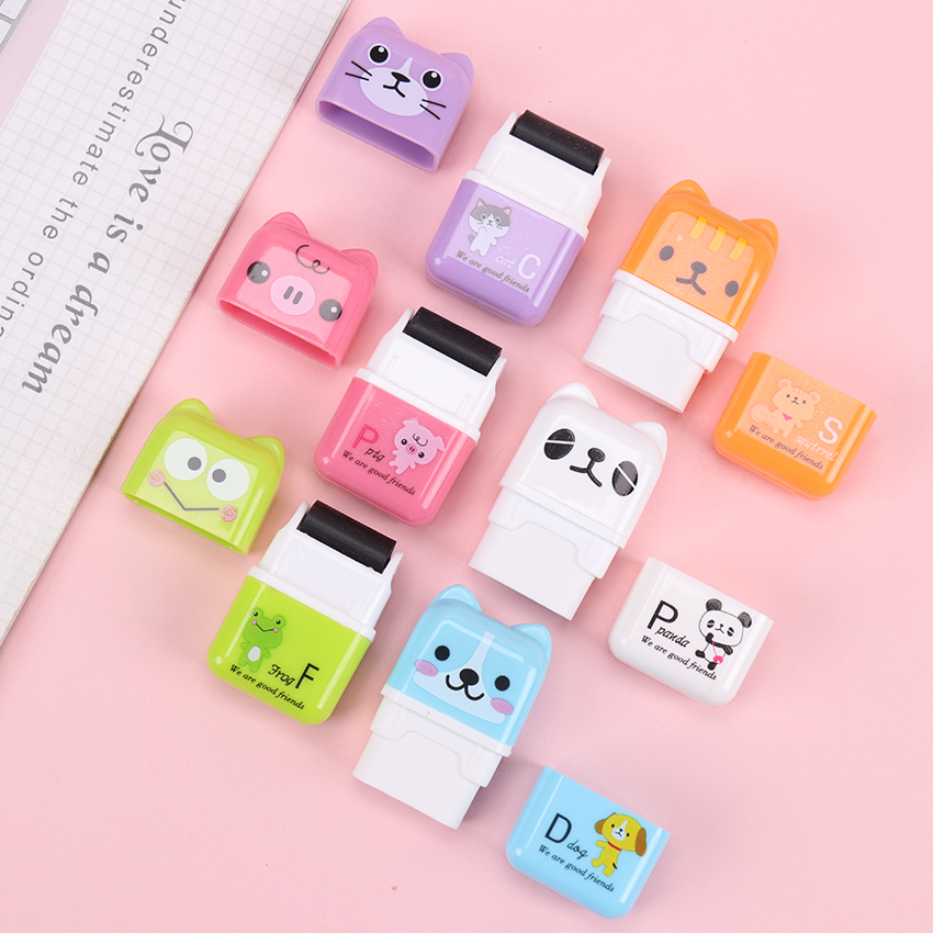 1PC Colorful Roller Eraser Cute Cartoon Pencil Eraser Students Correction Stationery Kids Gifts School Office Supplies
