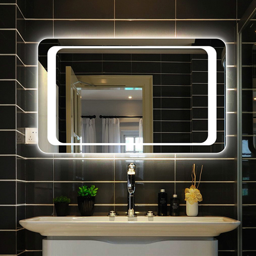 Panana LED Backlit Mirrors Bathroom Mirror Light Sensor + Demister IP44 Energy Efficient Lighting Touch Controlled
