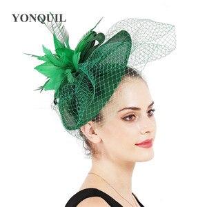 Image 5 - Yeni varış gelin düğün saç fascinators şapka peçe tüy çiçek saç klipleri kadın parti evli yarış şapkalar SYF31