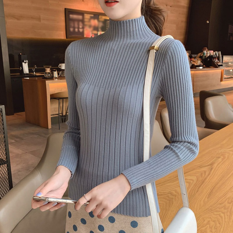 Autumn Winter Turtleneck Collar Long-sleeved Solid Color Temperament Women Sweater Slim Knit Bottoming Shirt