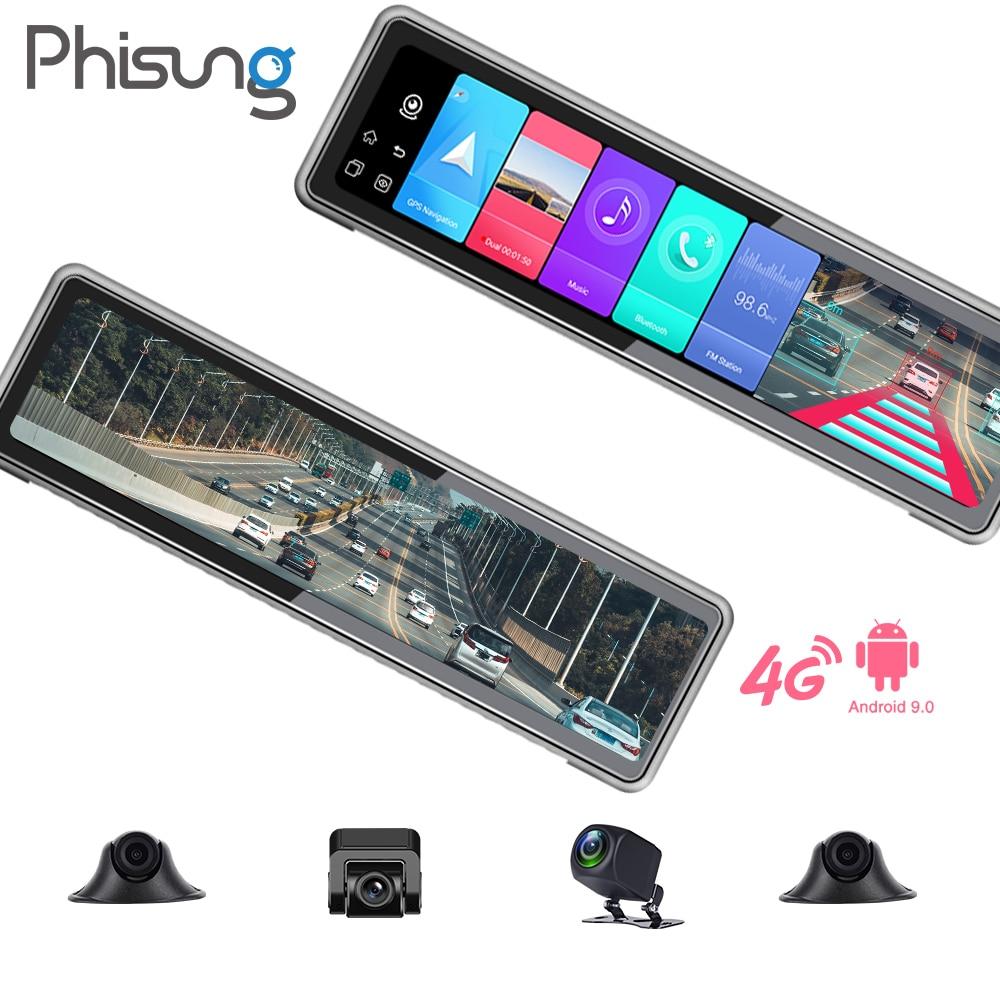 2021 Новые 4 камеры записи Android 9,0 2 + 32G зеркало заднего вида, камера с углом обзора без светильник ночное видение GPS WI-FI BT 4g Автомобильный видеома...
