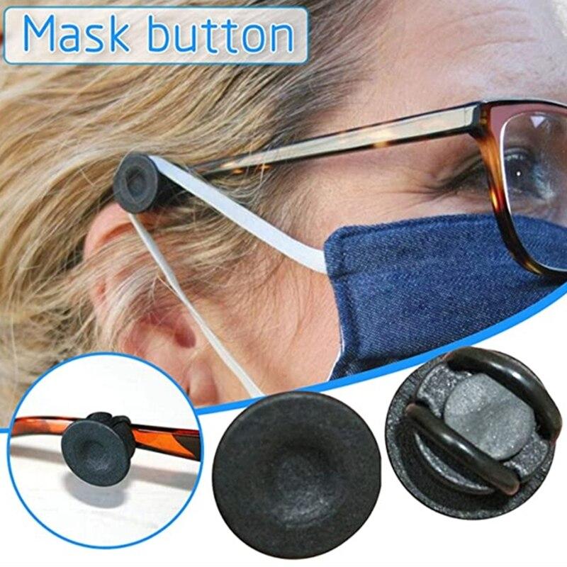 2 par clipe em botões para óculos máscara elástica regulador protetores de ouvido b36d