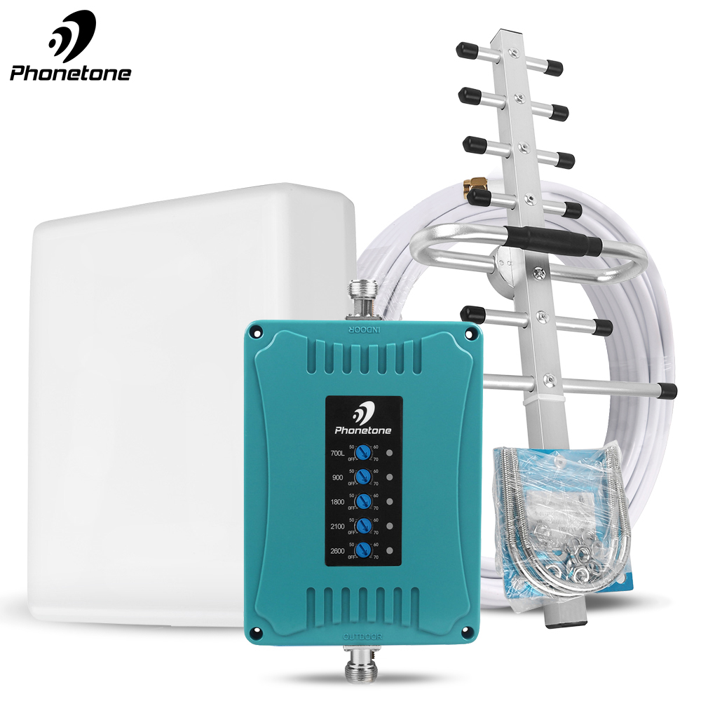 2g 3g 4g Gsm Cellular Signal Booster Repeater 700 900 1800 2100 2600mhz Five Band GSM WCDMA UMTS LTE Repeater Amplifier 4g Kit